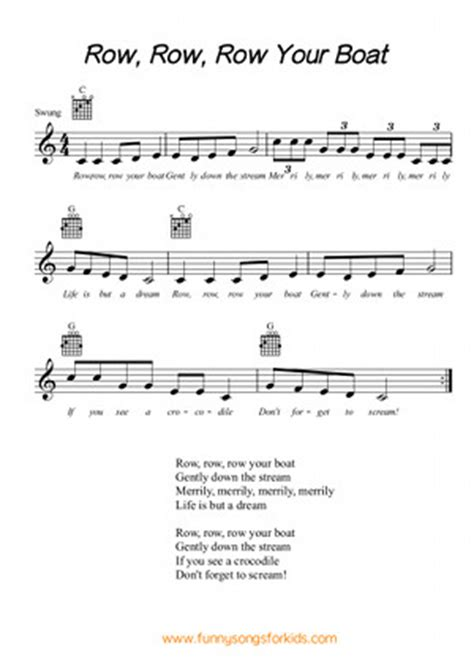 Row Your Boat Bass Tab by Classic Children S Songs Rhymes And Poems Songs