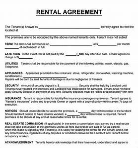 20 rental agreement templates word excel pdf formats for Renting contract template