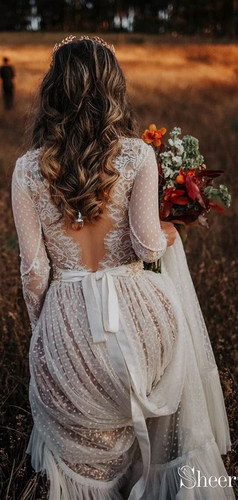 polka dot boho wedding dresses lace bohemian wedding dress
