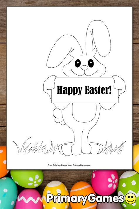 happy easter bunny coloring page printable easter