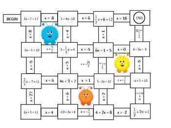 algebra solving    step equations mazes