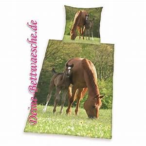 Pferde Bettwäsche Baumwolle : pferde bettw sche fohlen aus 100 baumwolle onlineshop f r bettw sche spielwaren und heimtextilien ~ Markanthonyermac.com Haus und Dekorationen