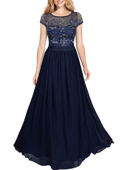 miusol dunkelblaues damen spitzen kleid lace blume