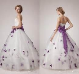 wedding dresses with purple accents discount white and purple wedding dresses 2017 unique a line strapless with pearls crystals