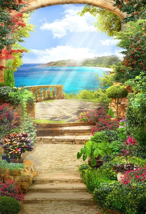 laeacco flowers garden view platform arch sea landscape