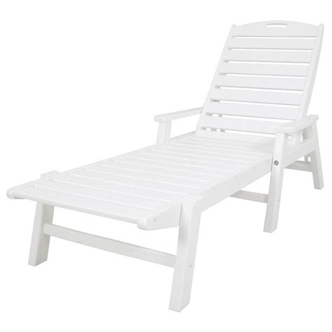 chaise longue plastique polywood nautical white stackable plastic outdoor patio