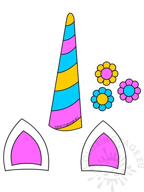 unicorn horn ears  flowers printable coloring page