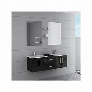 Meuble Double Vasque Suspendu : meuble double vasque suspendu noir dis1500n distribain ~ Melissatoandfro.com Idées de Décoration
