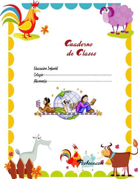caratulas color cuadernos escolares infantiles dibujos para imprimir 3 imagenes pw
