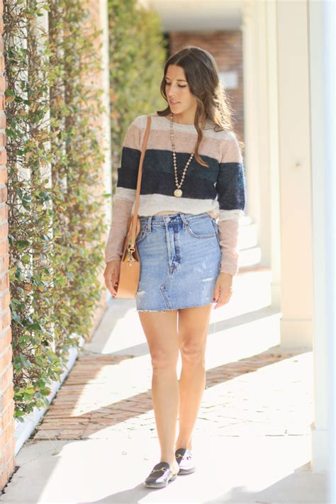 striped sweater denim skirt veryallegra