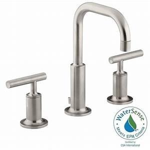 Kohler purist 8 in widespread 2 handle water saving for Water saving bathroom faucets