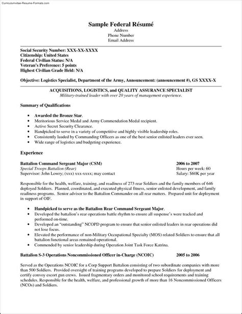 Federal Resume Template 2016 by Federal Resume Templates Free Sles Exles