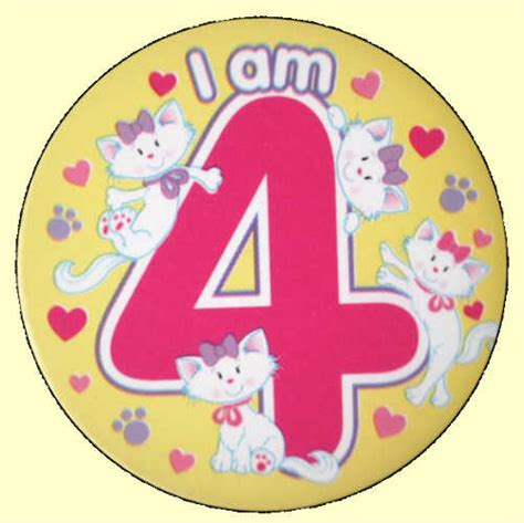 4th birthday badge cats party wizard
