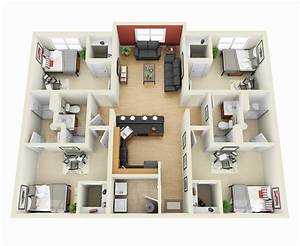 50 four 4 bedroom apartment house plans bedroom With 4 bedroom flat plan design
