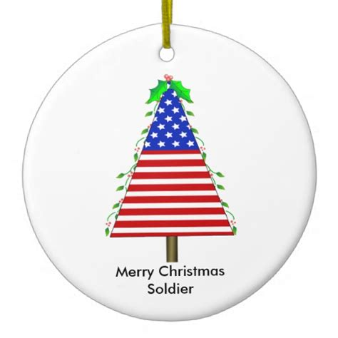 patriotic christmas tree ornament for soldier zazzle