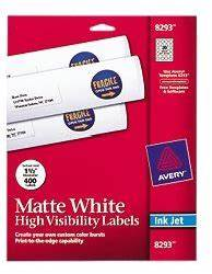 avery matte white high visibility labels for inkjet With avery 8293 labels
