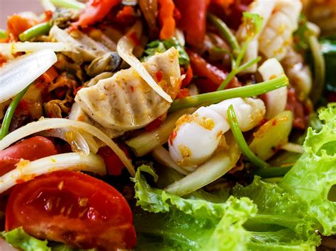Combine salad dressing, hot sauce, mint, mustard, lime juice and sugar substitute in large bowl; Thai Cuisine Yum Spicy Seafood Salad Free Stock Photo - Public Domain Pictures