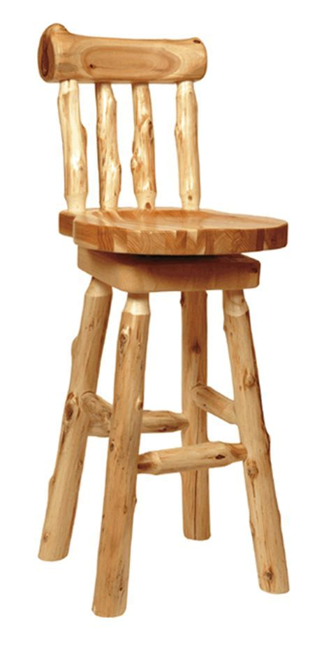 Cedar Log Furniture: 30 Inch Log Barstool with Back Black