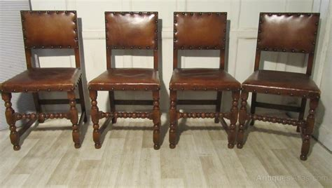 oak leather dining chairs set of 6 oak and leather dining chairs antiques atlas 3584