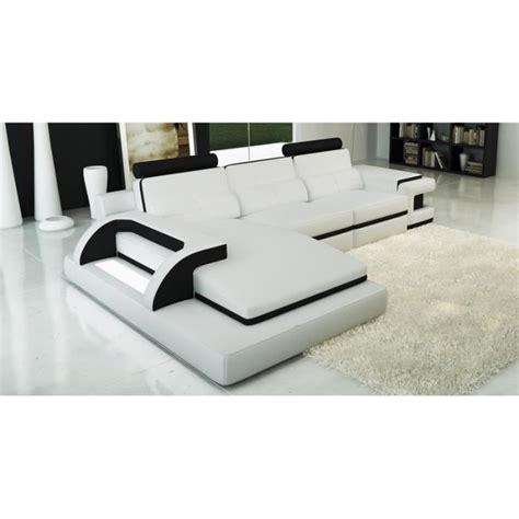 canap 233 d angle cuir blanc et noir design lumi achat vente canap 233 sofa divan cdiscount