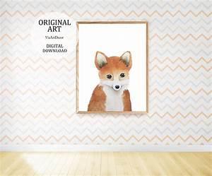 Fox, Art, Print, Woodland, Animals, Wall, Art, Printable, Baby, Fox, Nursery, Decor, Watercolor, Fox, Painting