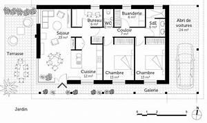 plan maison de plain pied avec terrasse ooreka With plan maison plain pied 3 chambres terrasse