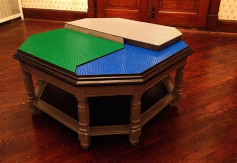 Octagonal Diy Lego Table Represents Water, Land And Urban