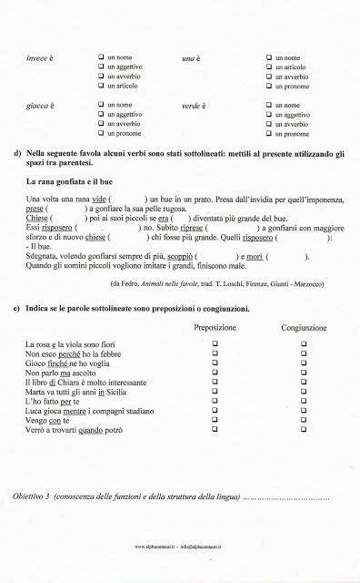 Prova Ingresso Prima Media - prova di verifica di italiano scuola primaria verifica di