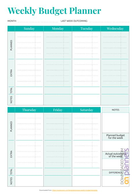 printable simple weekly budget template