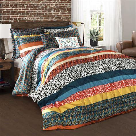 turquoise comforter set king shop lush decor boho stripe 7 piece turquoise tangerine king comforter set at lowes com