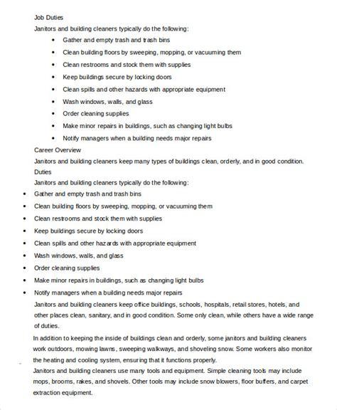 janitor job description templates