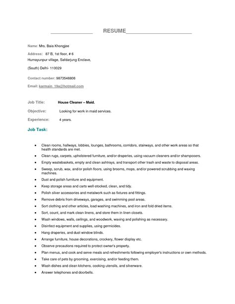 clean resume house cleaning resume exles exles of resumes