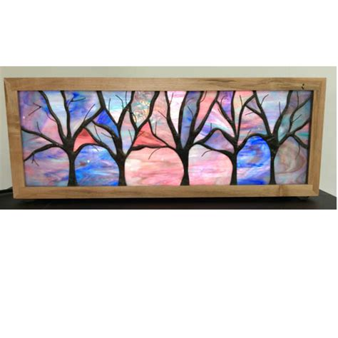 stained glass tree light box in ambrosia maple wood frame