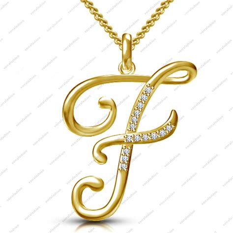 "14K Gold Plated 925 Silver Sparkles White CZ ""F"" Alphabet"