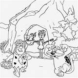 Cave Coloring Drawing Flintstones Prehistoric Pages Printable Age Cartoon Stone Drawings Colour Teenagers Saber Children Caveman Easy Tooth Ice Dinosaur sketch template