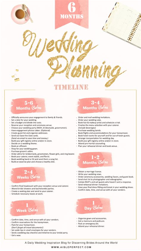 month wedding planning timeline aisle perfect