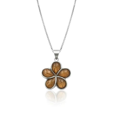 Koa Wood Plumeria Flower Sterling Silver Pendant