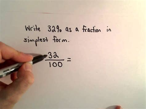 writing a percent as a fraction in reduced form youtube