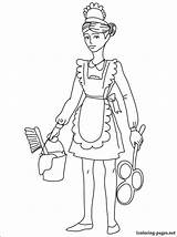 Maid Coloring Pages Drawing Drawings Printable Chambermaid Housemaid Career Fans sketch template