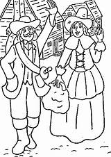 Coloring Thanksgiving Pilgrim Pilgrims Settlers Printable Sheets Holiday Season Activity Themed Library Clipart Turkey Cliparts Boy Lots Clip Fill Even sketch template