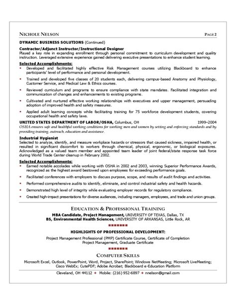 project manager resume sle free