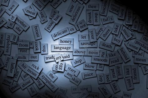magnetic poetry words english grammar stock image image
