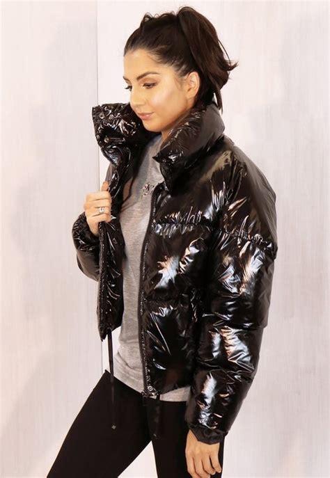 cropped padded shiny vinyl puffer jacket  funnel neck