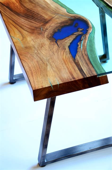 Live Edge River Coffee Table Glowing In The Dark With