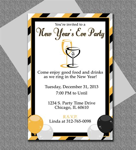 years eve party invitation editable template