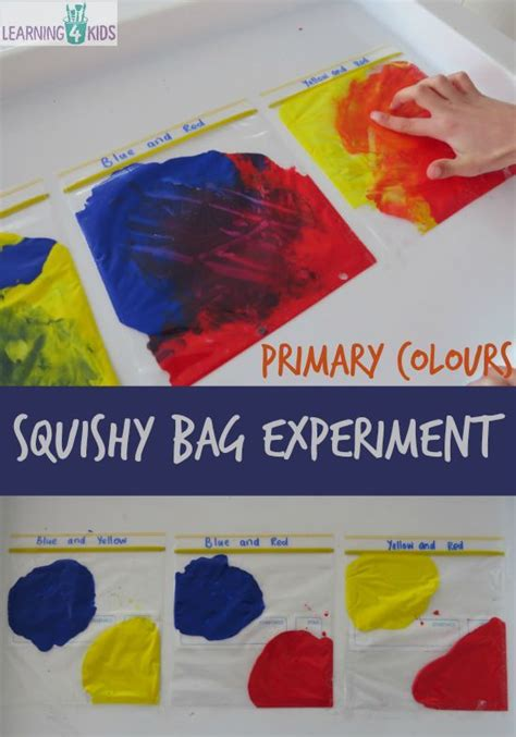 primary colours squishy bag experiment primary colors activities and bag