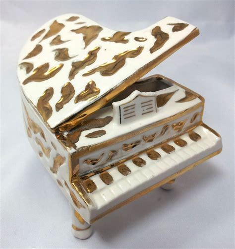 vintage white  gold ceramic grand piano    japan