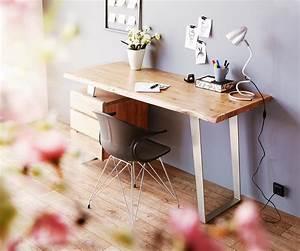 Schreibtisch Mit Druckerfach : schreibtisch live edge 147x62 cm akazie natur 3 sch be ~ Michelbontemps.com Haus und Dekorationen