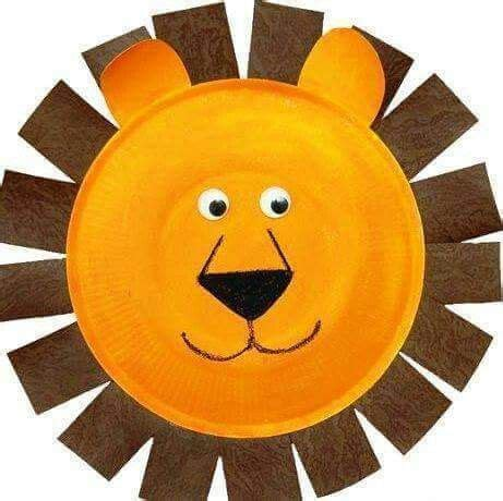 paper plate lion lion craft animal crafts  kids