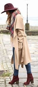Burgundy Long coats and Ankle boots on Pinterest